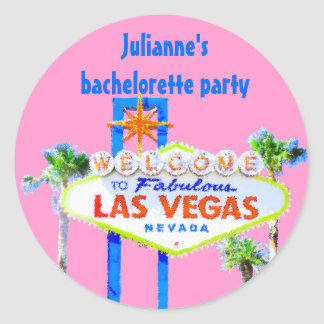 Las Vegas Bachelorette Party  pink Classic Round Sticker