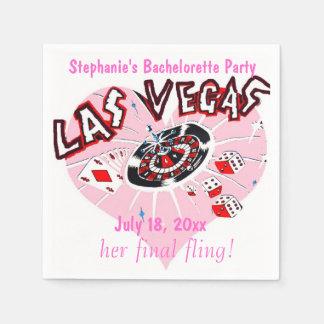 Las Vegas Bachelorette Pink Heart Standard Cocktail Napkin