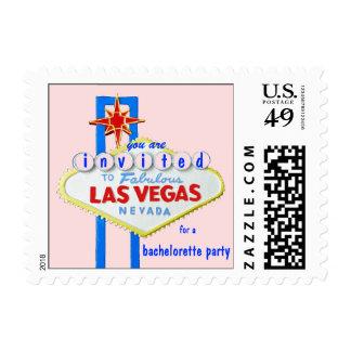 Las Vegas Bachelorette Pink Invite Postage