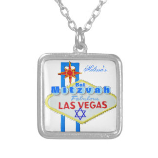 Las Vegas Bat Mitzvah Square Pendant Necklace