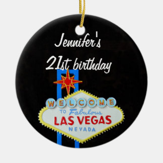 Las Vegas Birthday 21 Pendant Ceramic Ornament