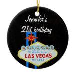 Las Vegas Birthday 21 Pendant Double-Sided Ceramic Round Christmas Ornament