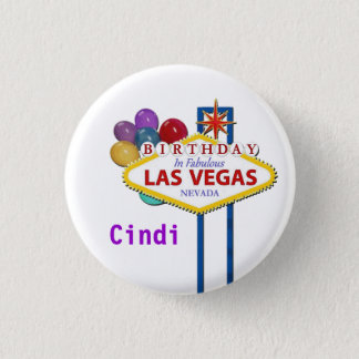 Las Vegas BIRTHDAY Button personalize with name