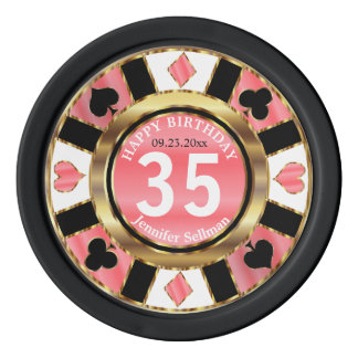 Las Vegas Birthday in Pretty Coral Poker Chips Set