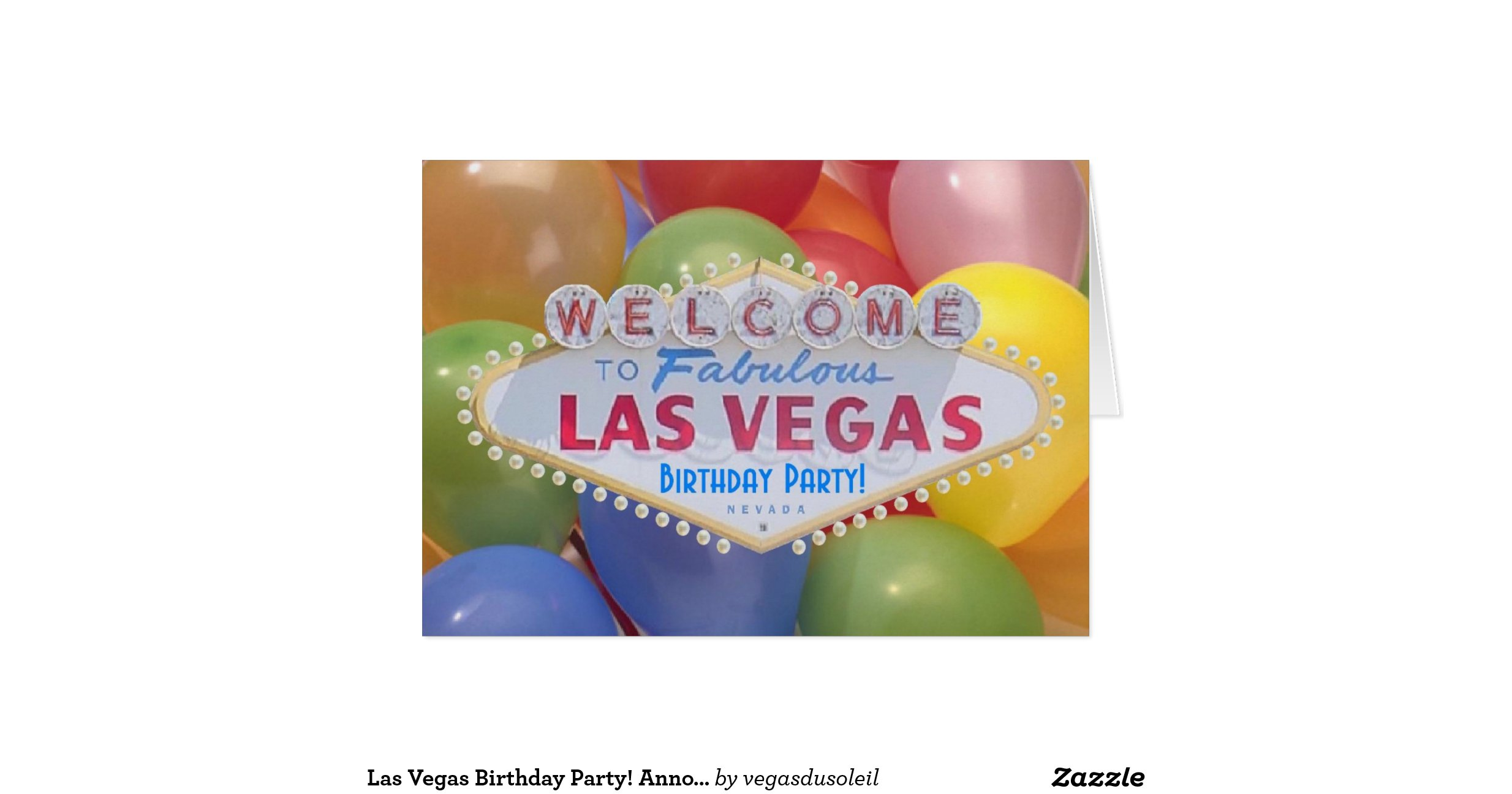 las vegas birthday party announcement card with b
