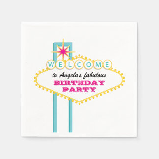 Las Vegas Birthday Party Pink Sign Paper Napkin