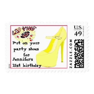Las Vegas Birthday Party Shoes Postage Stamp