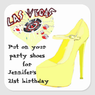 Las Vegas Birthday Party Shoes Square Sticker