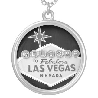 Las Vegas Black and White Sign Round Pendant Necklace