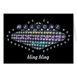 Las Vegas bling bling Card with Diamonds