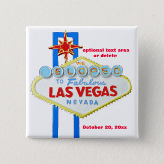 Las Vegas Bride and Groom Elope Pinback Button