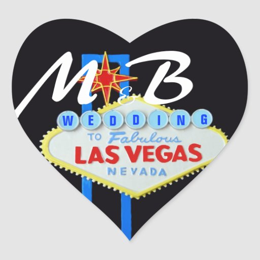 Las Vegas Bride and Groom Initials Heart Stickers