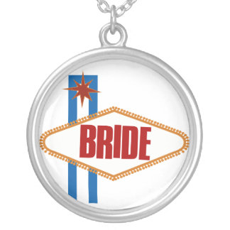 Las Vegas Bride Round Pendant Necklace
