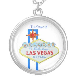 Las Vegas Bridesmaid Gift Round Pendant Necklace