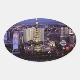 Las Vegas by Night 3 Oval Sticker