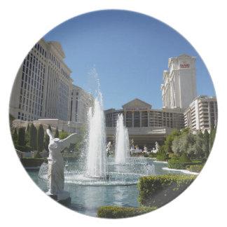 Las Vegas Caesars Palace Fountain Fountains Party Plates