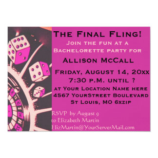 Las Vegas Casino Bachelorette Party 5.5x7.5 Paper Invitation Card
