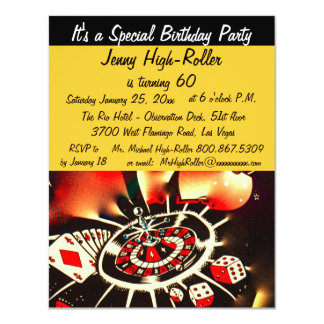 Las Vegas Casino Birthday Bash Event 4.25x5.5 Paper Invitation Card