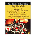 Las Vegas Casino Birthday Bash Event 4.25x5.5 Paper Invitation Card