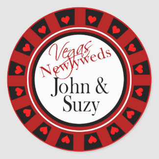 Las Vegas Casino Chip Envelope Classic Round Sticker