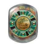 Las Vegas Casino Chip Favor aqua tan gold black Glass Jars