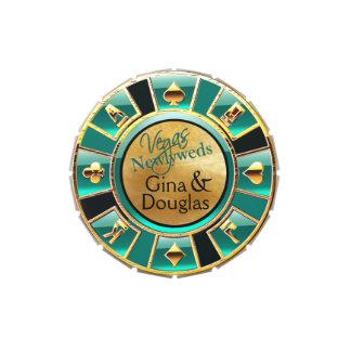 Las Vegas Casino Chip Favor aqua tan gold black Jelly Belly Tins