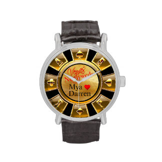 Las Vegas Casino Chip | gold black sand Watch