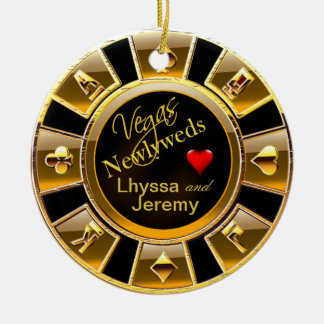 Las Vegas Casino Chip photo black/gold Ornaments