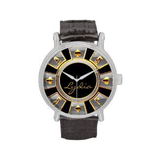 Las Vegas Casino Chip | silver gold black Wristwatches
