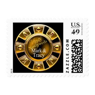 Las Vegas Casino Chip wedding postage black gold
