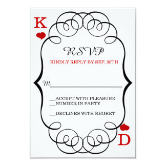Las Vegas Casino Modern Chic Wedding RSVP 3.5x5 Paper Invitation Card