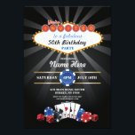 "Las Vegas Casino Night Birthday Invite Party<br><div class=""desc"">Casino Night Party Design. Perfect for any age birthday. Simply change the text to suit your party. Back print included.</div>"