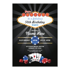 Las Vegas Casino Night Birthday Invite Party