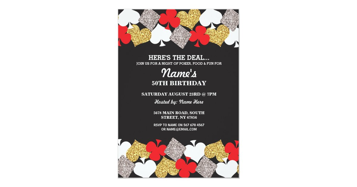 Las Vegas Casino Night Birthday Party Invitation | Zazzle.com