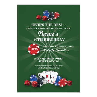 Las Vegas Casino Night Birthday Party Invitation