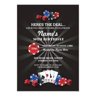 Las Vegas Casino Night Birthday Party Invite