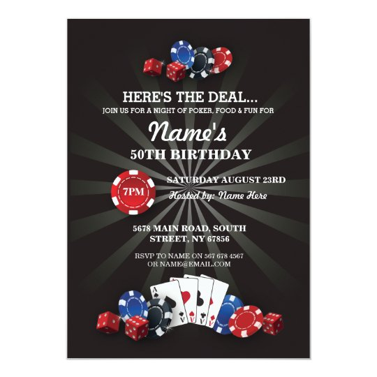 Las Vegas Casino Night Birthday Party Invite Zazzle Com