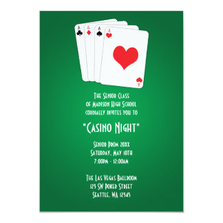 "Las Vegas Casino Night Prom Formal Invitation 5"" X 7"" Invitation Card"