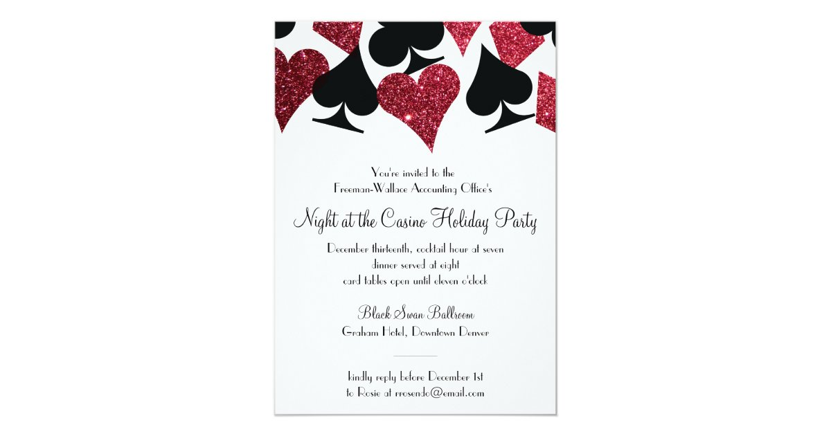 Office party invitations 3200 office party announcements invites las vegas casino party black and faux red glitter card stopboris Gallery