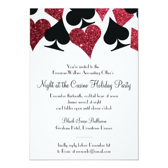 Las Vegas Casino Party Black And Faux Red Glitter Invitation