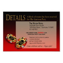 Las Vegas Casino Party Details | red black gold Custom Announcements