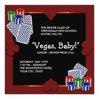 """Las Vegas Casino Prom Invitations 5.25"""" Square Invitation Card"""