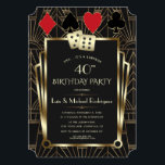 """Las Vegas Casino Royale Great Birthday Invitation<br><div class=""""desc"""">ANY AGE! Royal, Vintage card design Great and Casino themed. It features a Great , Roaring 1920's old Hollywood Art Deco style shape, royal faux gold freer-de-lis, gold divider and vintage fonts, a pair of dice, on a black textured background with an Art Deco pattern, as well playing cards suits...</div>"""
