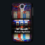 "Las Vegas Casino Slot Machine Samsung S4 Case<br><div class=""desc"">Custom Las Vegas style iphone case with casino slot machine. Fun gambler design with a winning 777 bet in red, white, and blue. If you would like this design on a different type of mobile phone case or skin, feel free to contact me through the send message function in my...</div>"