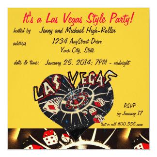 Las Vegas Casino Style Party 5.25x5.25 Square Paper Invitation Card