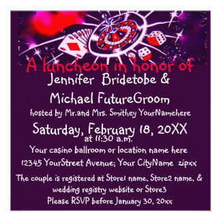 Las Vegas Casino Theme Bridal Shower Personalized Invites