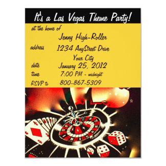 Las Vegas Casino Theme Party 4.25x5.5 Paper Invitation Card