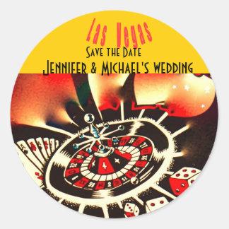 Las Vegas casino theme wedding Round Stickers