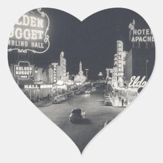 Las Vegas céntrico retro Pegatina En Forma De Corazón