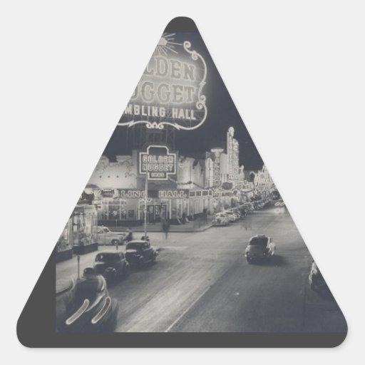 Las Vegas céntrico retro Pegatina Triangular